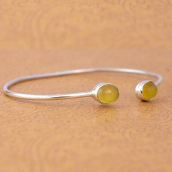 Yellow Onyx Gemstone Cuff Bangle 925 Sterling Silver Women Bangle Indian Fashion Jewellery