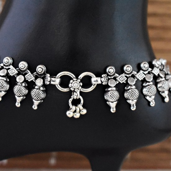 Authentic Attractive Handmade Plain Silver 925 Sterling Silver Anklet