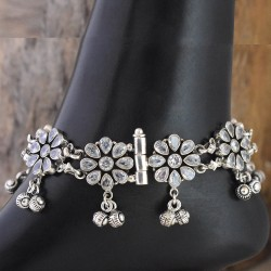 Charming White C.Z. 925 Sterling Silver Anklet