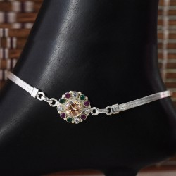 Grogeous Multi Colour C.Z. 925 Sterling Silver Anklet
