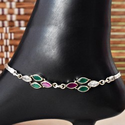 Magnicent Red,Green and White C.Z. 925 Sterling Silver Anklet