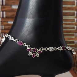 Nice Red And White C.Z. 925 Sterling Silver Anklet