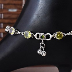 Peridot C.Z. 925 Sterling Silver Anklet