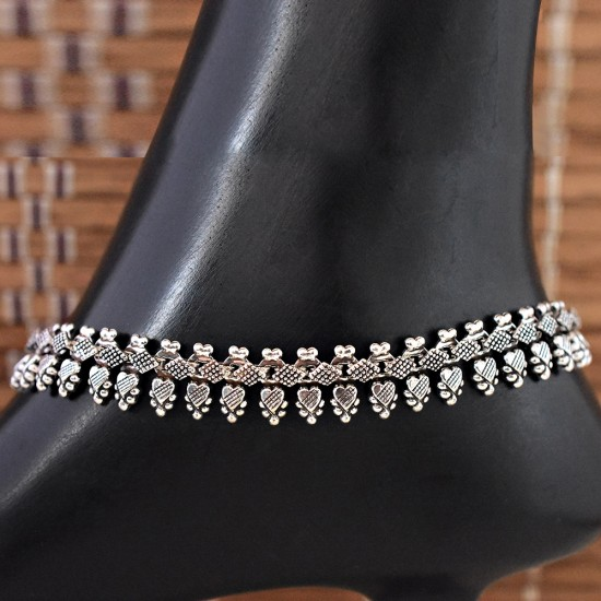 Pretty !! Double Sterling Plain Silver 925 Sterling Silver Anklet