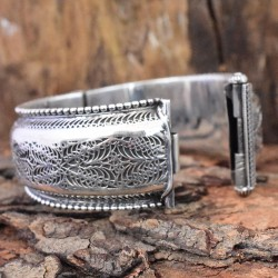 Vintage Indian Style Plain 925 Sterling Silver Cuff Bracelet