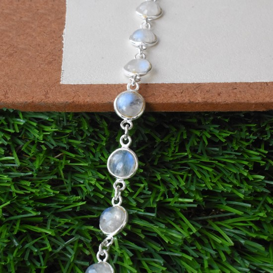 Appealing Rainbow Moonstone 925 Sterling Silver Bracelet!!