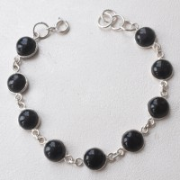 Incredible Black Onyx Gemstone 925 Sterling Silver Bracelet