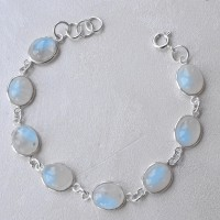 Charming !!Rainbow Moonstone Gemstone 925 Sterling Silver Bracelet