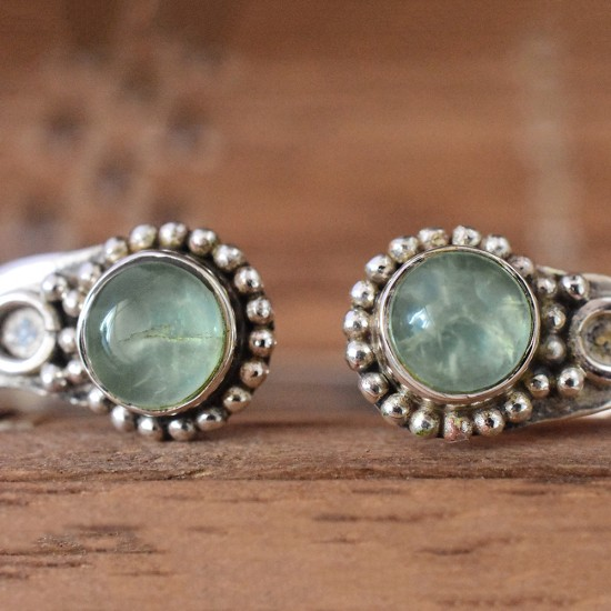 Green Color Prehnite Gemstone 925 Silver Cuff Bracelets
