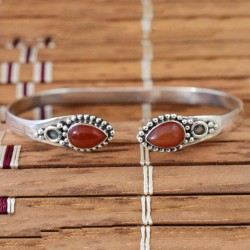 Natural!! Red Onyx Gemstone 925 Silver Cuff Bracelet