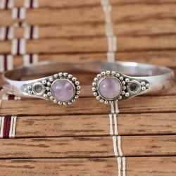 Rose Quartz Gemstone 925 Sterling Silver Cuff Bracelet