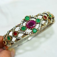 Breath Of Love !! Turkish Green Onyx, Red Onyx, White CZ 925 Sterling Silver Bangle With Brass