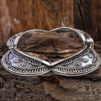 Rajasthan Tribal Style 925 Sterling Silver Cuff Bracelet