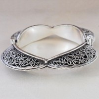 Rajasthani Indian Style Plain 925 Sterling Silver Cuff Bracelet