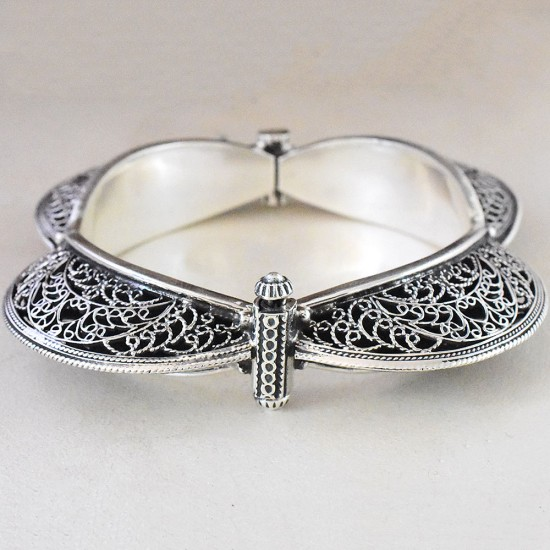 Indian Rajasthani!! Style Plain 925 Sterling Silver Cuff Bracelet