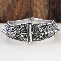 Rajasthani Tribal Plain 925 Sterling Silver Bracelet (Openable)