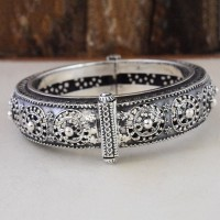 Rajasthani Tribal Boho  925 Sterling Silver Cuff Bracelet