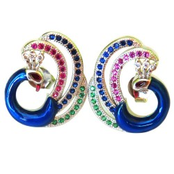 Awesome Earring !! Peacock Style Gemstone Silver Earring