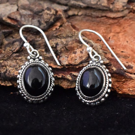 Alluring Black Onyx Cabochon 925 Sterling Silver Dangle Earring