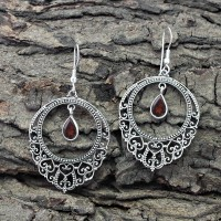 Alluring Garnet Cut Stone 925 Sterling Silver Dangle Earring