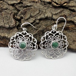 Alluring Green Corundum 925 Sterling Silver Earring