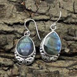 Amazing Blue Fire Labradorite 925 Sterling Silver Earring
