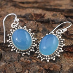 Amazing !!Chalcedony Oval Cabochon 925 Silver Earring
