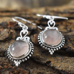 Amazing Rose Quartz 925 Silver Earring