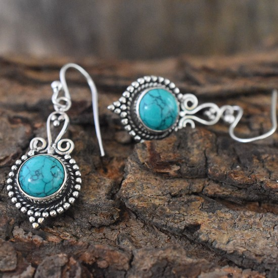 Amazing Turquoise 925 Sterling Silver  Dangle Earring