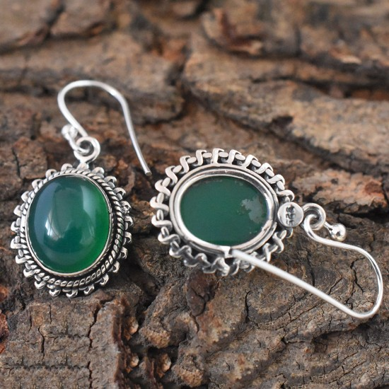 Asum Green Onyx Oval Cabochon 925 Silver Dangle Earring