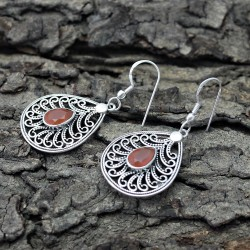 Attract Nice Red Onyx 925 Sterling Silver Earring