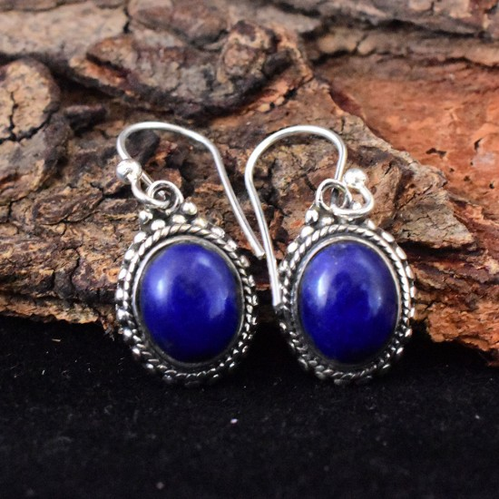 Attractive Lapis Lazuli Cabochon Stone 925 Sterling Silver Earring
