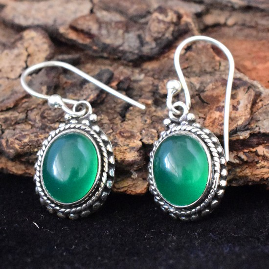 Awesome Green Onyx Cabochon 925 Sterling Silver Earring