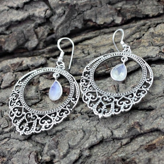 Awesome Rainbow Moonstone Cut Stone 925 Sterling Silver Dangle Earring