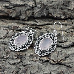 Beautiful Oval Rose Quartz 925 Sterling Silver Earring