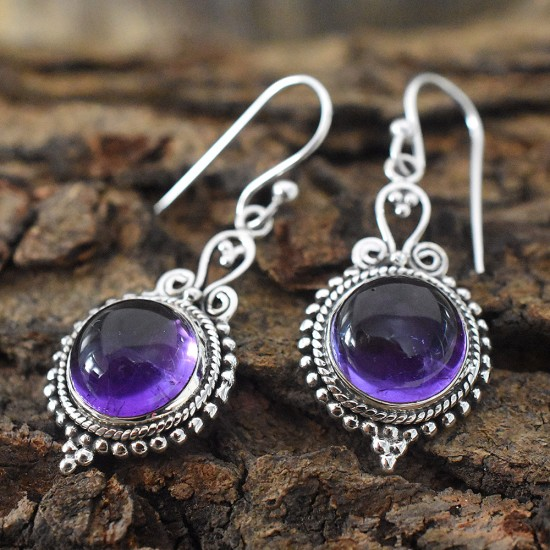 Beautiful Amethyst 925 Silver Dangle Earring