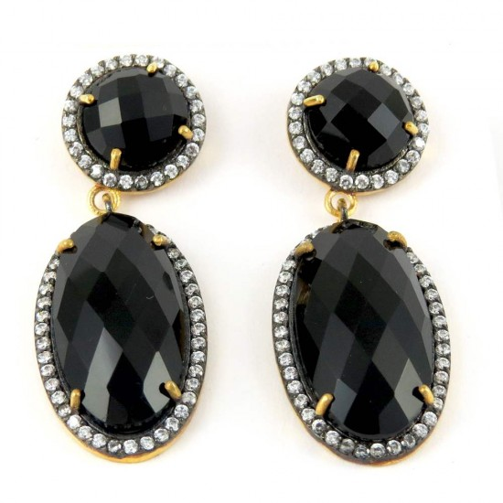 Just Stunning Design Black Onyx, White CZ 925 Sterling Silver Earring