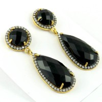 Sands Of Time Black Onyx, White CZ 925 Sterling Silver Earring