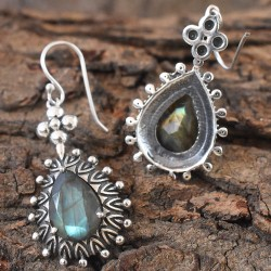 Black Labradorite Gemstone 925 Sterling Silver Earring!!