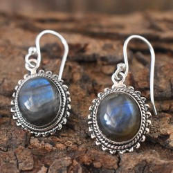Black Rainbow!! Labradorite Oval Cabochon 925 Silver Earring