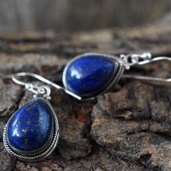 Blue Lapis Lazuli 925 Silver Dangle Earring