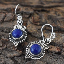 Blue Lapis Lazuli 925 Sterling Silver Dangle Earring