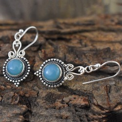 Breathtaking Chalcedony 925 Sterling Silver Earring