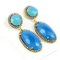 Tropical Light Chalcedony, White CZ 925 Sterling Silver Earring