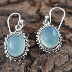Chronic- Blue Chalcedony Cabochon 925 Silver Dangle Earring!!