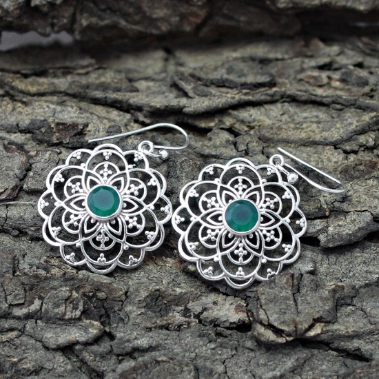 Engaging Green Onyx 925 Sterling Silver Earring