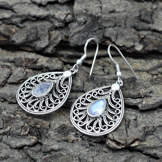 Foxy Rainbow Moonstone 925 Sterling Silver Earring