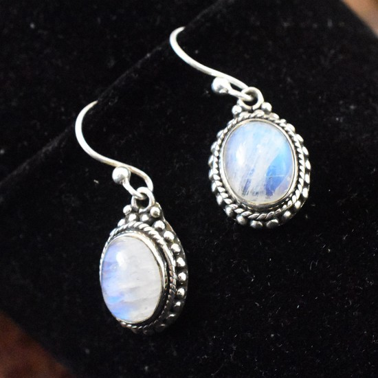 Glamours Rainbow Moonstone Cabochon 925 Sterling Silver Dangle Earring