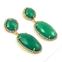 Night Secret Green Onyx, White CZ 925 Sterling Silver Earring