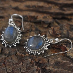 Looked Up!! Blue Fire Labradorite  925 Sterling Silver Earring